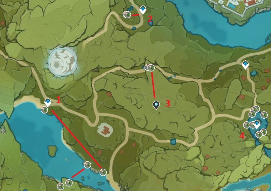 Calla Lily Farming Map: Wolvendom and Springvale