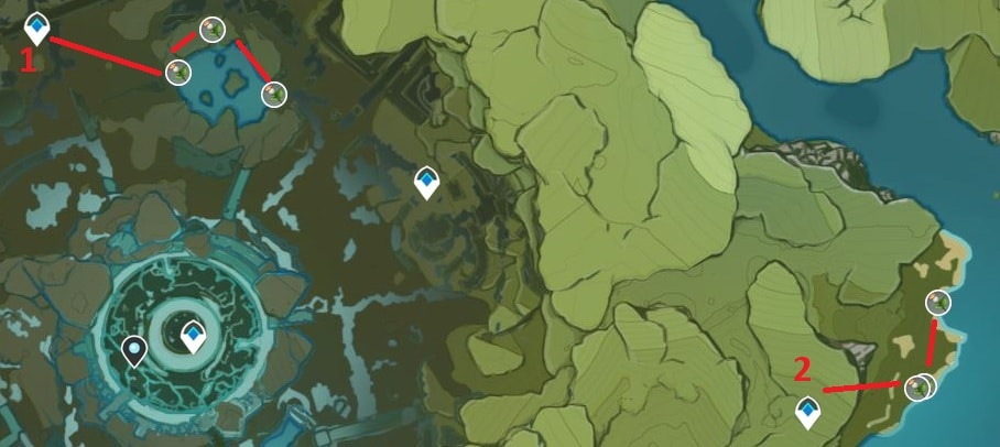 Calla Lily Farming Location Map 4 Northern Stormterror Lair And East Part Of Brightcrown Canyon