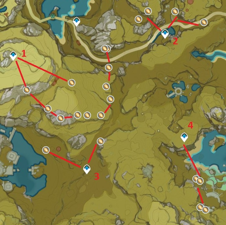 Cor Lapis Farming Location Map 2 Area South Of Jueyun Karst Tianqiu Valley And Luhua Pool