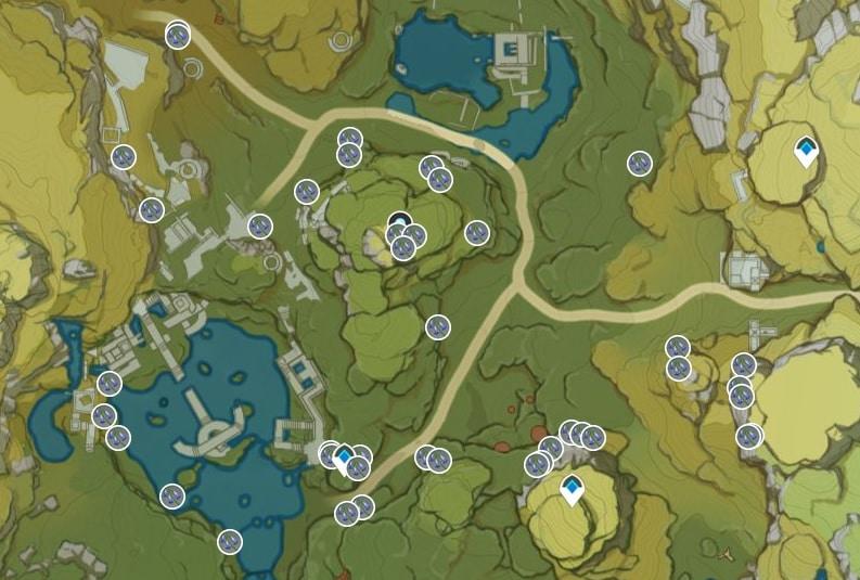 Violetgrass Farming Location Map 4 Lingju Pass Area