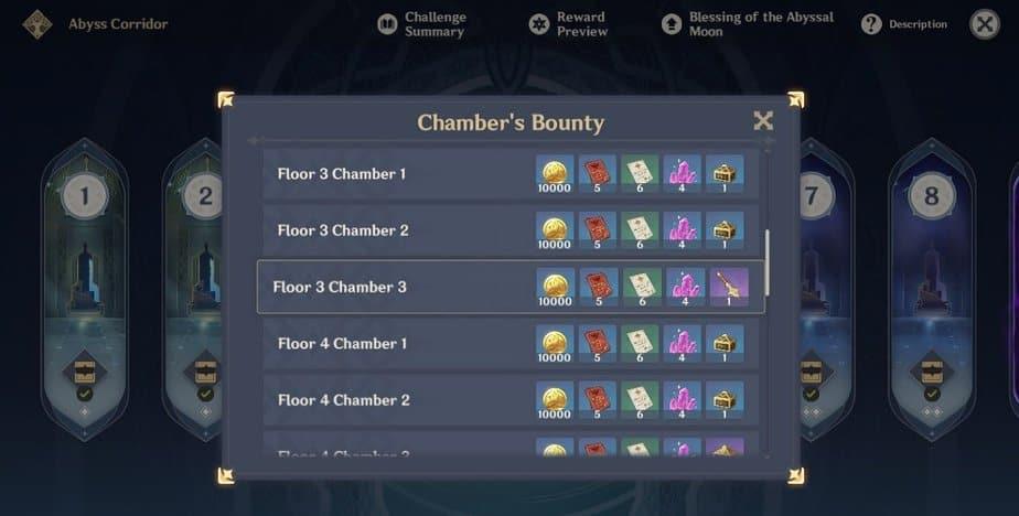 Spiral Abyss Chamber's Bounty Floor 3 Chamber 3 Reward