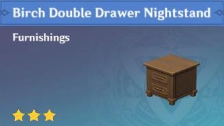 Birch Double Drawer Nightstand