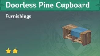Furnishing Doorless Pine Cupboard