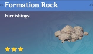 Furnishing Formation Rock