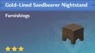 Furnishing Gold Lined Sandbearer Nightstand