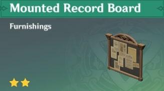 Furnishing Mounted Record Board