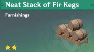 Furnishing Neat Stack of Fir Kegs