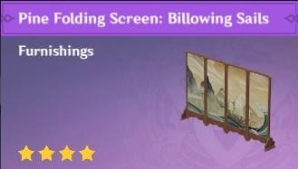 Furnishing Pine Folding Screen Billowing Sails