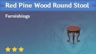 Red Pine Wood Round Stool