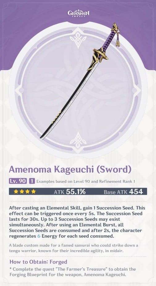 Amenoma Kageuchi Sword Level 90 Refinement 1 Stats