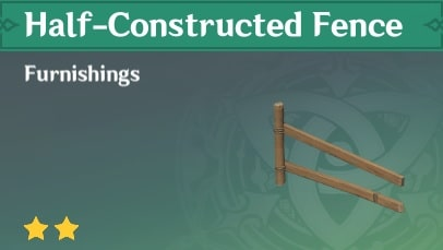Furnishing Half Constructed Fence