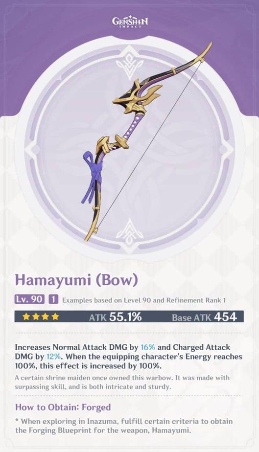 Hamayumi Bow Level 90 Refinement 1 Stats