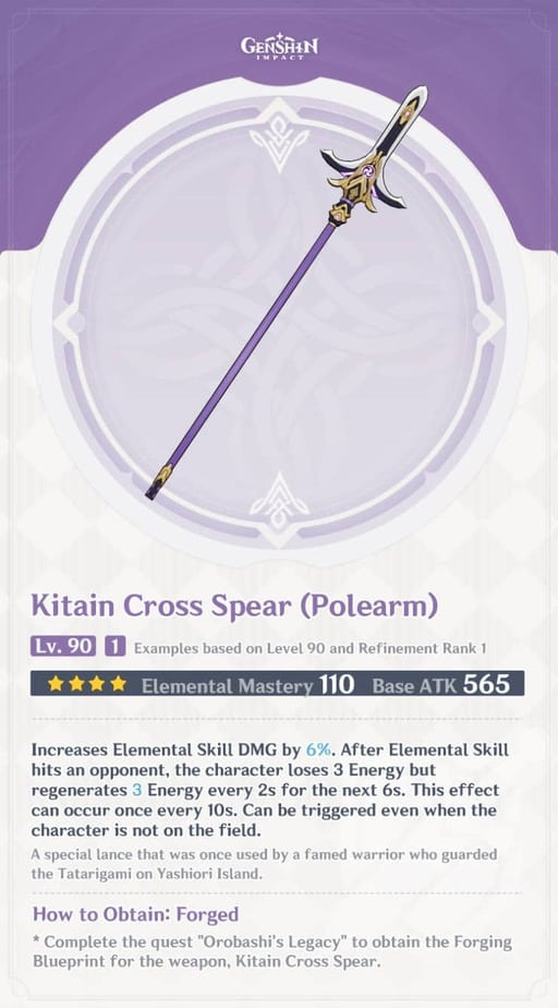 Kitain Cross Spear Polearm Level 90 Refinement 1 Stats