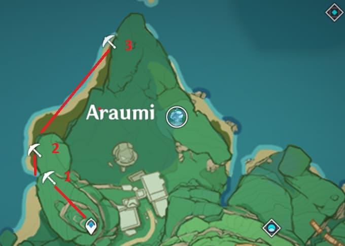 2 Amethyst Lump Locations in Araumi Area