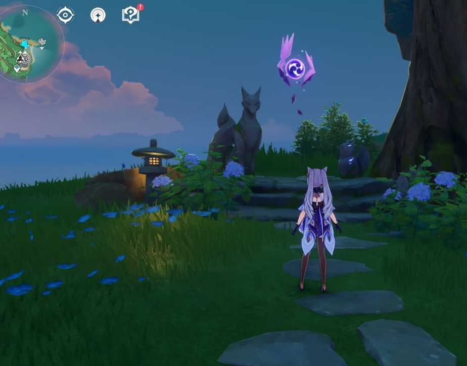 23 Electroculus Fox Statue Under The Tree In Game