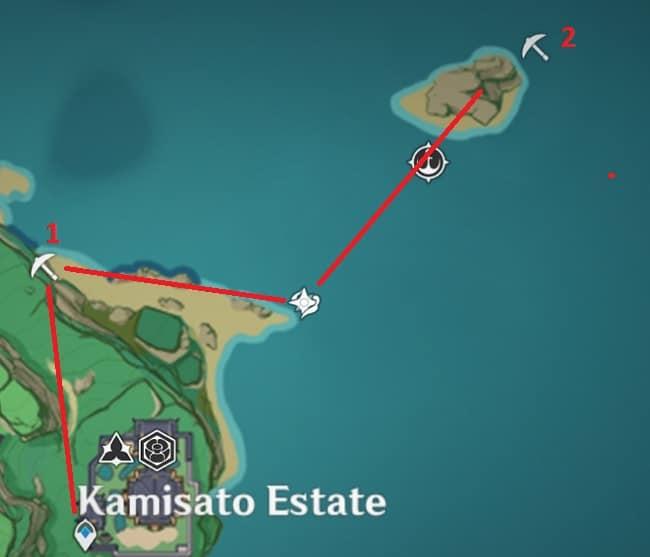3 Amethyst Lump locations in area outside Kamisato Estate