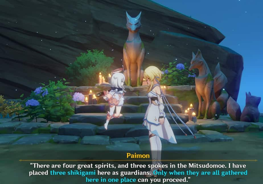 Investigating Abandoned Fox Shrine With Paimon