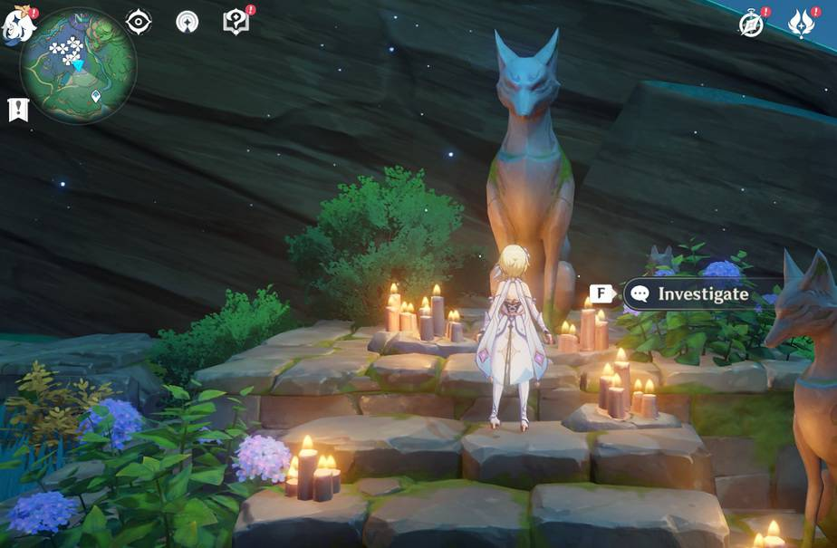 Recite 3 Sacred Words In Front Of Kitsune Statue