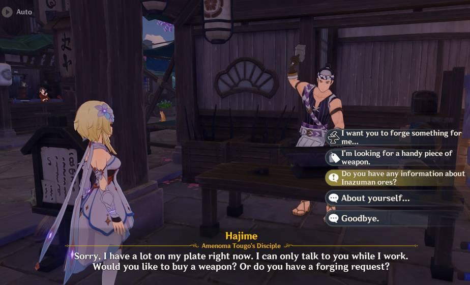 Talk to Hajime the blacksmith about Inazuman ores
