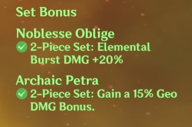 2 Noblesse and 2 Archaic Petra Set Bonus