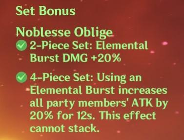 4 Noblesse Oblige Set Bonus