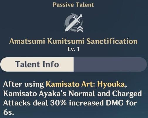 Ayaka Passive Amatsumi Kunitsumi Sanctification
