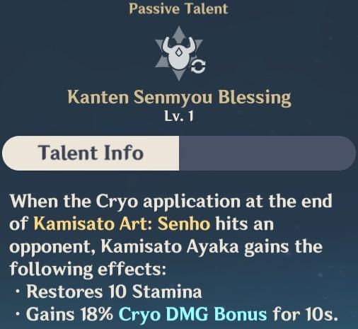 Ayaka Passive Kanten Senmyou Blessing