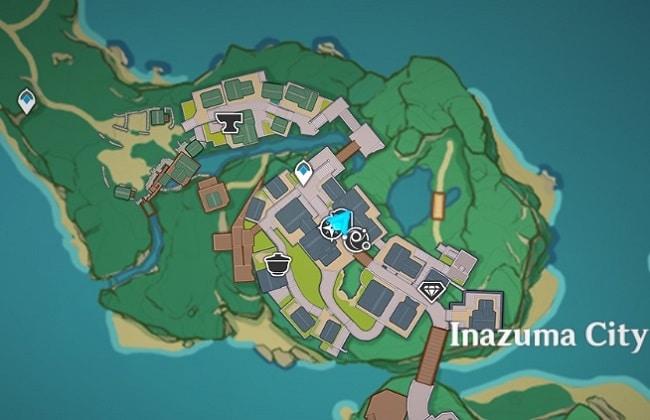 Shimura's Location in Inazuma City