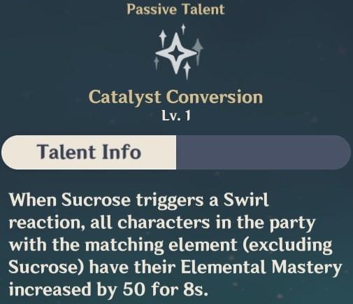Sucrose Passive Talent - Catalyst Conversion