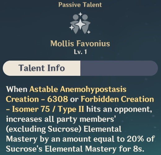 Sucrose Passive Talent - Mollis Favonius