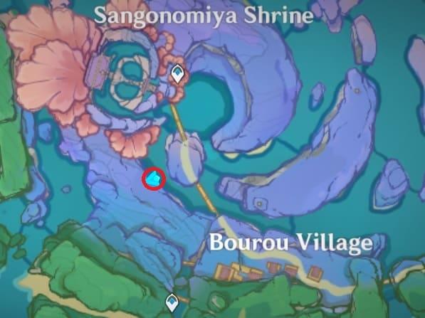 101 Hidden by the rock, bottom of valley south of sangonomiya shrine map
