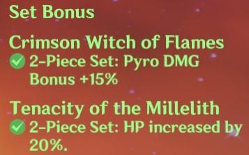 2 Crimson Witch + 2 Tenacity of Millelith Set Bonus