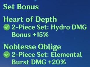 2 Heart of Depth + 2 Noblesse Oblige Set Bonus