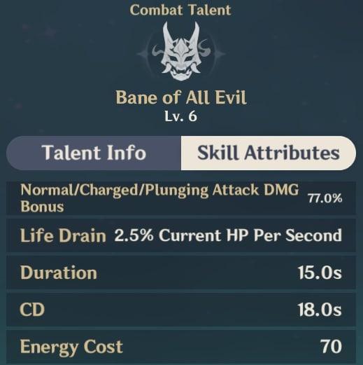 Bane of All Evil Skill Attributes