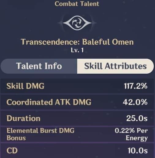 Transcendence Baleful Omen skill attributes