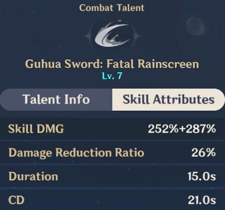 Guhua Sword Fatal Rainscreen Skill Attributes