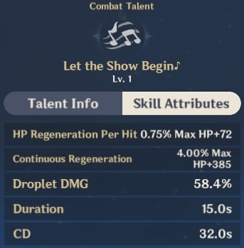 Let The Show Begin Skill Attributes