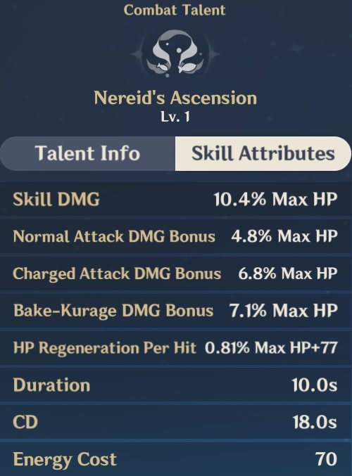 Nereid's Ascension Skill Attributes
