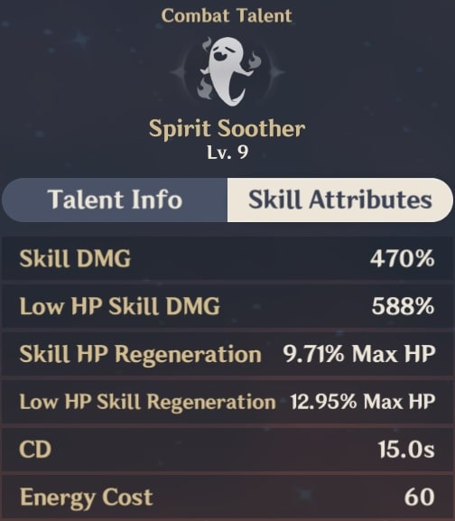 Spirit Soother Skill Attributes