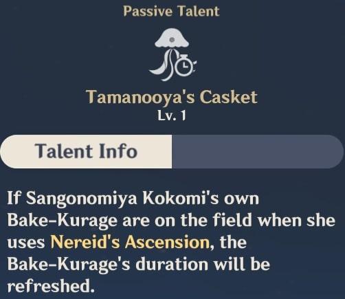 Tamanooya's Casket Talent Info
