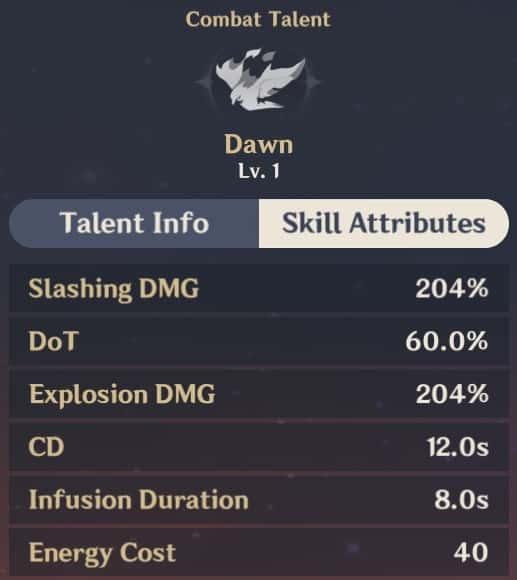 Dawn Skill Attributes