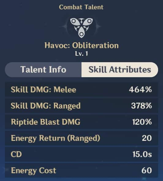 Havoc Obliteration Skill Attributes