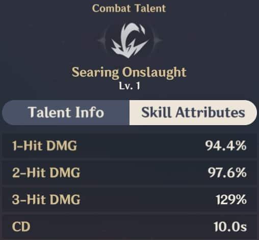 Searing Onslaught Skill Attributes